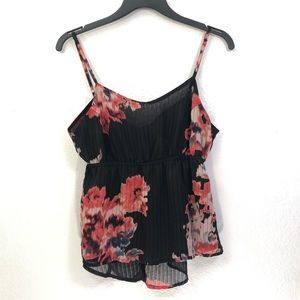 I. Madeline Floral Flowy Cropped Camisole